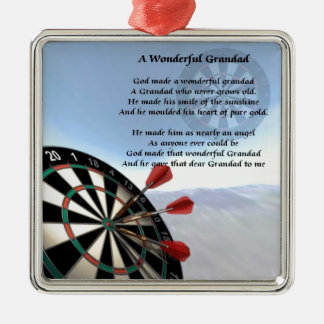 Grandad Poem - Darts Silver-Colored Square Decoration