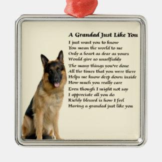 Grandad poem - German Shepherd Design Silver-Colored Square Decoration