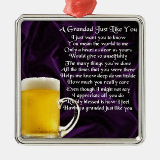 Grandad poem - Glass of Beer Design Silver-Colored Square Decoration