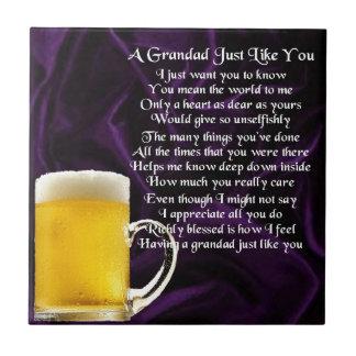 Grandad poem - Glass of Beer Design Small Square Tile