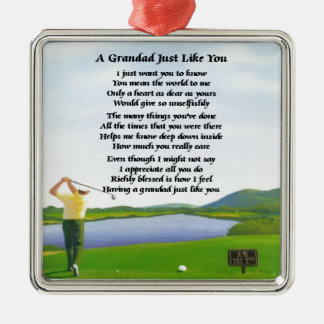 Grandad Poem - Golf Silver-Colored Square Decoration