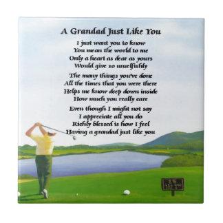 Grandad Poem - Golf Tile