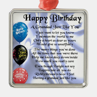 Grandad poem - Happy Birthday design Silver-Colored Square Decoration