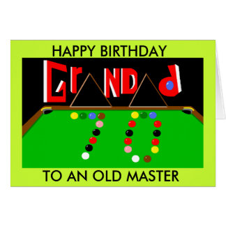 Grandad Snooker card 70th birthday