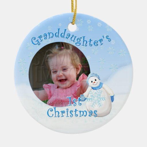 Grandaughter's 1st Christmas Snowman Round Photo O Christmas Tree Ornaments