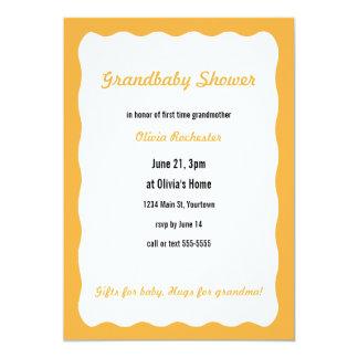 Grandbaby Shower with orange border 13 Cm X 18 Cm Invitation Card