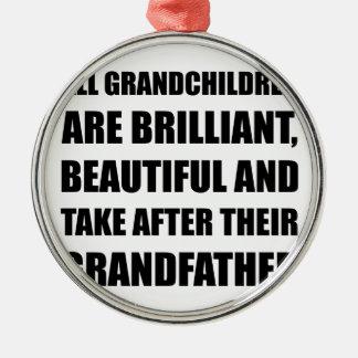 Grandchildren Brilliant Grandfather Silver-Colored Round Decoration