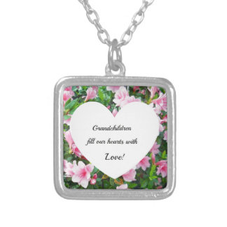 Grandchildren fill our hearts with love. square pendant necklace