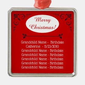 Grandchildren Names Christmas for Grandparents Christmas Ornament