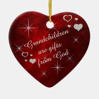 Grandchildren Star Heart Keepsake Ceramic Heart Decoration