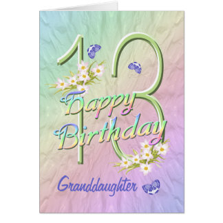 Granddaughter 13th Birthday Butterfly Garden Card