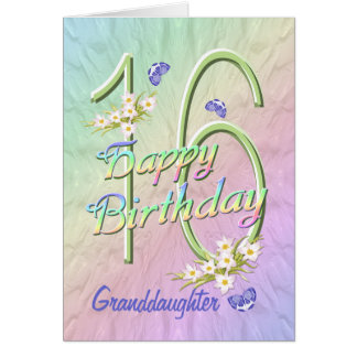 Granddaughter 16th Birthday Butterfly Garden Card