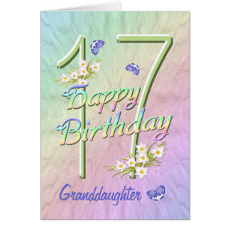 Granddaughter 17th Birthday Butterfly Garden Card