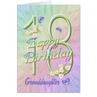 Granddaughter 18th Birthday Butterfly Garden Card