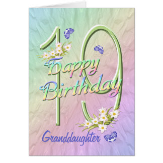 Granddaughter 19th Birthday Butterfly Garden Card