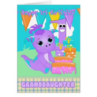 Granddaughter, 1st Birthday Cute Little Monster Greeting Card