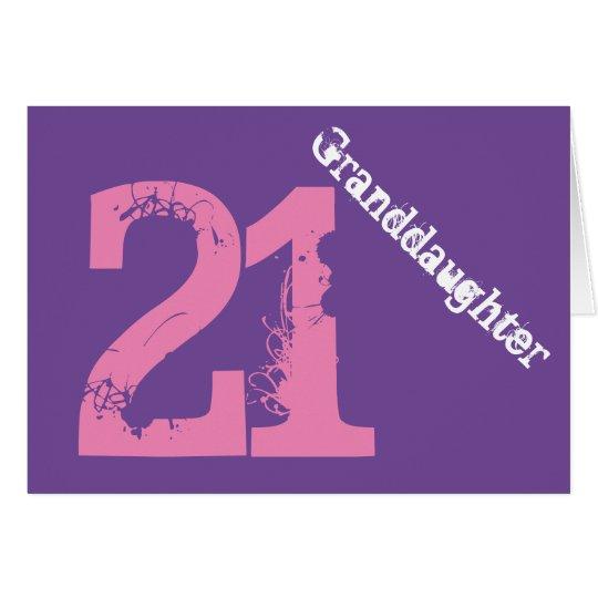 Granddaughter, 21st birthday, white, pink, purple. card