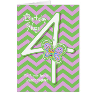 Granddaughter 4th Birthday Butterfly Hugs Card