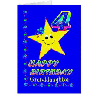 Granddaughter 4th Birthday Stars Greeting Card