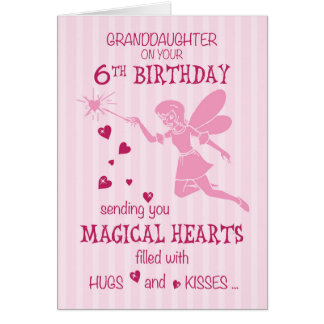 Granddaughter 6th Birthday Magical Fairy Pink Greeting Card