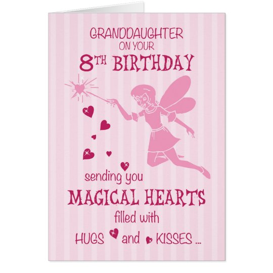 Granddaughter 8th Birthday Magical Fairy Pink Card
