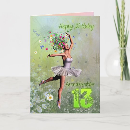 Granddaughter Age 13 Flower Fairy Birthday Card