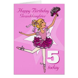 Granddaughter ballerina birthday pink age card