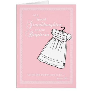 Granddaughter Baptism Gown on Pink Greeting Card