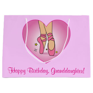 Granddaughter Birthday Ballet Slippers in Heart Large Gift Bag