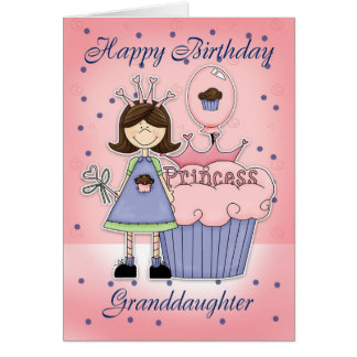 Granddaughter Birthday Card - Cupcake Princess