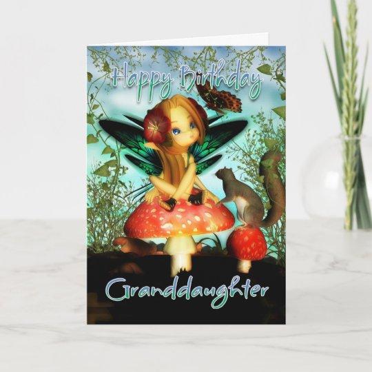 Granddaughter Birthday Card Cute Little Fairy