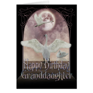 Granddaughter Birthday Card - Swans