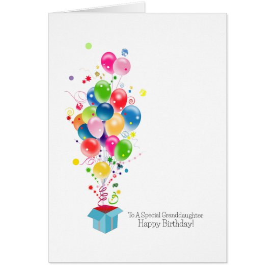 Granddaughter Birthday Cards Colourful Balloons