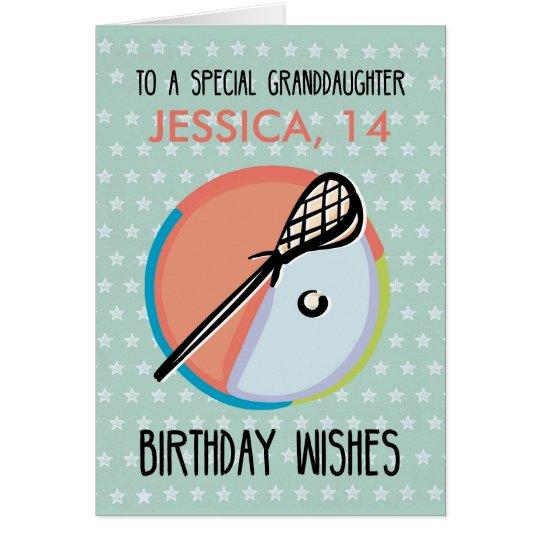 Granddaughter Birthday, Lacrosse Sport, Personaliz Card