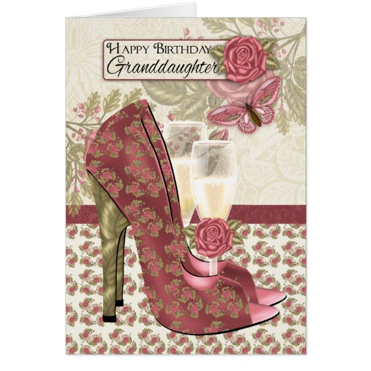Granddaughter Champagne And Shoes Butterfly Card