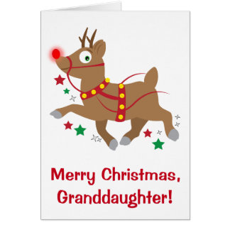 Granddaughter Christmas with Red-Nosed Reindeer Card