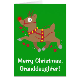 Granddaughter Christmas with Red-Nosed Reindeer Greeting Card