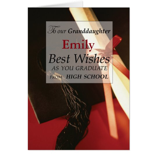 Granddaughter Custom Name, Emily, High School Grad Card