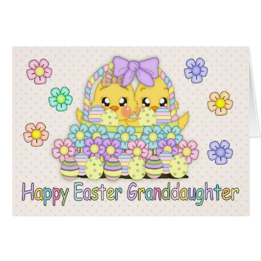 Granddaughter Cute Easter Chicks In A Basket Greeting Cards