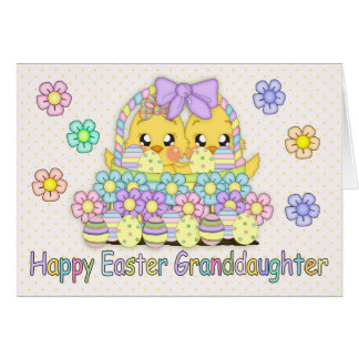 Granddaughter Cute Easter Chicks In A Basket Greeting Card