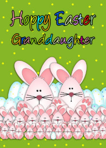 For granddaughters easter gifts gift ideas zazzle uk granddaughter easter card with easter bunnies negle Images