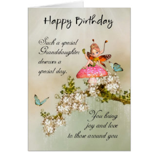 Granddaughter Fairy Birthday Card With Blossom