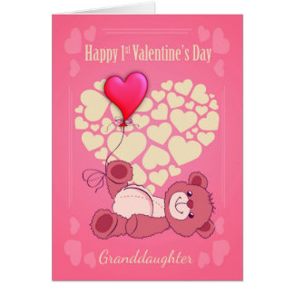 Granddaughter, First 1st Valentine's Day With Tedd Card
