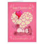 Granddaughter, First 1st Valentine's Day With Tedd Greeting Card