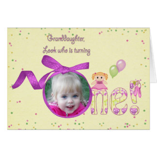 Granddaughter first birthday photo card
