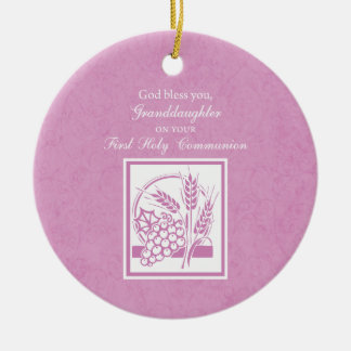 Granddaughter First Communion, Pink Christmas Ornament