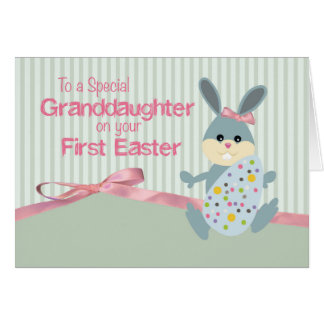 Granddaughter First Easter, Bunny Ribbon on Stripe Card