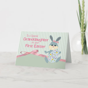 For granddaughter easter gifts gift ideas zazzle uk granddaughter first easter bunny ribbon on stripe christmas card negle Images