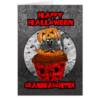 granddaughter halloween cupcake cat, grey tabby card