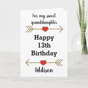 Granddaughter Happy 13th Birthday Card